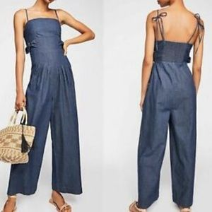 Free People Brittany Chambray Jump Suit SZ 8